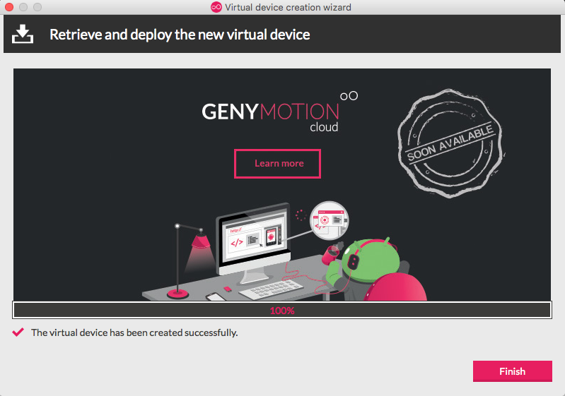 Genymotion Virtual device install finished