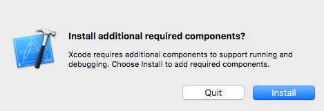 xcode additional components prompt