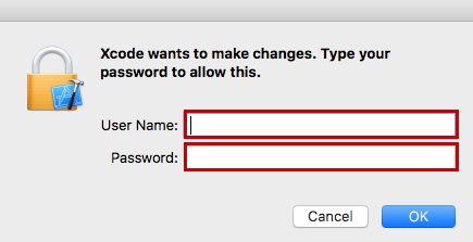 credentials for xcode install